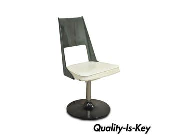 Vintage Mid Century Modern Smoked Curved Lucite Swivel Base Desk Side Chair