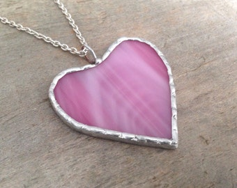 Birthday for her, heart pendant, glass jewerly 25, pink heart necklace, bride gift ideas, pastel grunge, classic statement, metal goth