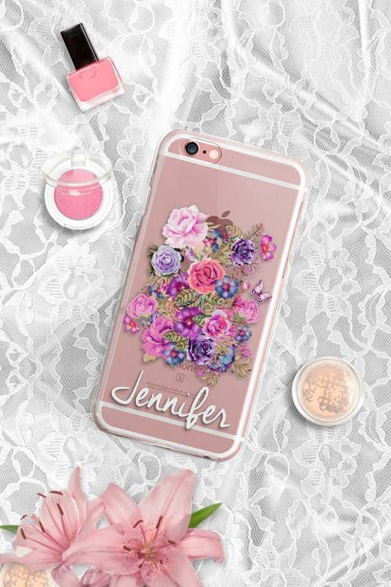 Personalized iPhone case Clear iPhone 6 case Floral iPhone 6 plus case Custom iPhone 6s plus case iPhone 5S case Floral Samsung S6 Edge case