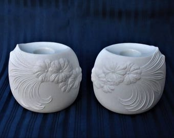 Two Kaiser (Germany) Embossed Floral Bisque Candle Holders signed by M. Frey