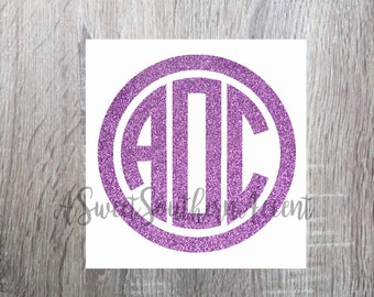 Glitter monogram Decal or car, laptop, cup, cell phone, Yeti, iphone, notebook, tumbler, boots, rambler, cooler