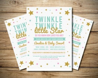 Twinkle Twinkle Little Star Baby Shower Invitation - Digital