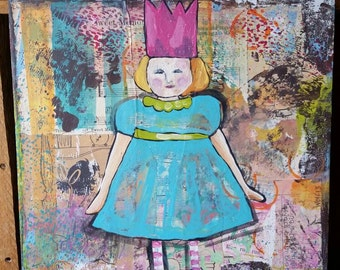 Mixed media girl painting.  Fairy tale. Child.