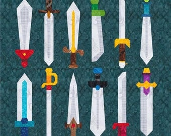 12 Swords Quilt Block Patterns - Foundation Paper Piece Patch - PDF Download; sword, knife, knight, hero weapons, epic gamer