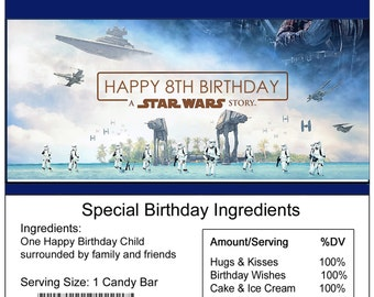 Star Wars Rogue One birthday Candy Bar Wrapper