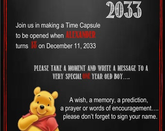 Winnie the Pooh Time Capsule Sign for a First Birthday