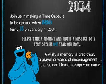 Cookie Monster Time Capsule Sign for a First Birthday