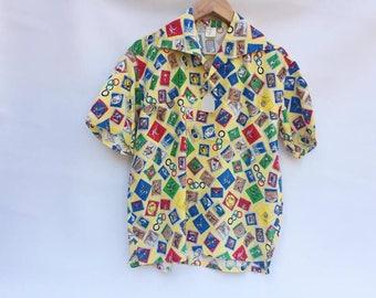 Rockabilly shirt / Men's 60s  Shirt / Swing Shirt Stamps / 60s Rockabilly Unisex  Shirt / Shirt Dancer / Shirt XL