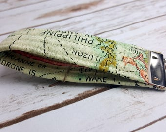 World Map Quilted Key Fob/Key Chain