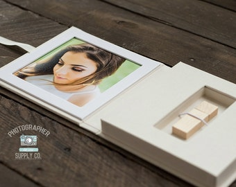Book Cloth Linen 5x5 Window + USB Box Holder Perfect Photographer Photo Packaging or Small Gift Box Linen Box