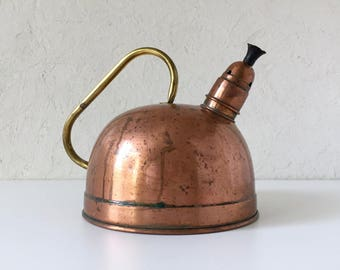 Vintage Copper and Brass Tea Kettle, Farmhouse Decorating, Cottage Style