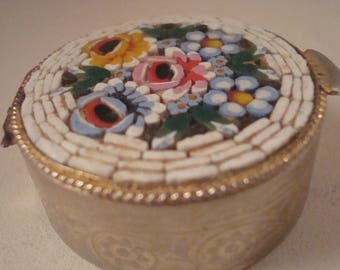 Vintage micromosaic pill box from Italy