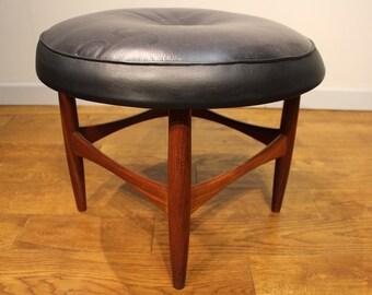 G Plan Stool Designed By Ib Kofod Larsen in Leather