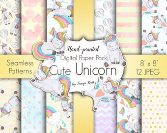 Baby Unicorn Digital Paper, Unicorns Digital Paper Pack, Cute Unicorn  Paper, Watercolor Digital paper, Planner DIY Paper, Kids Paper, baby