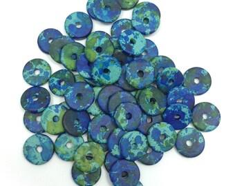 Ceramic discs, green speckled, 13mm, 58 pieces