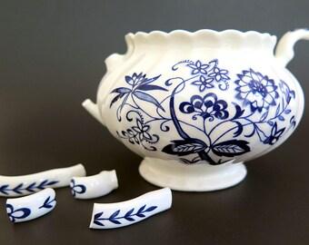 Vintage Blue Nordic Sugar Bowl Broken for Mosaic Onion Flower Blue White Swirl China Flowers England