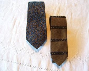Silk Ties, Silk Neckties, Blue and Brown, Capper & Capper, Skinny Tie Set of 2 Vintage
