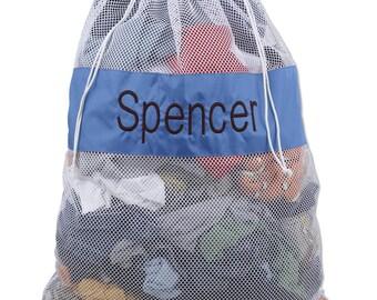 Large Mesh Laundry Bag, Large Mesh Toy Bag, Blue and White