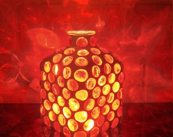 Orange Mosaic Lighted Bottle