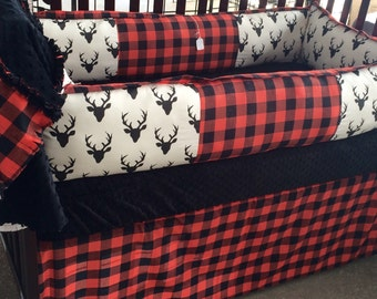 Deer and Buffalo Plaid/Red,white and Black- Custom Baby Bedding- Boy/Girl/neutral crib bedding