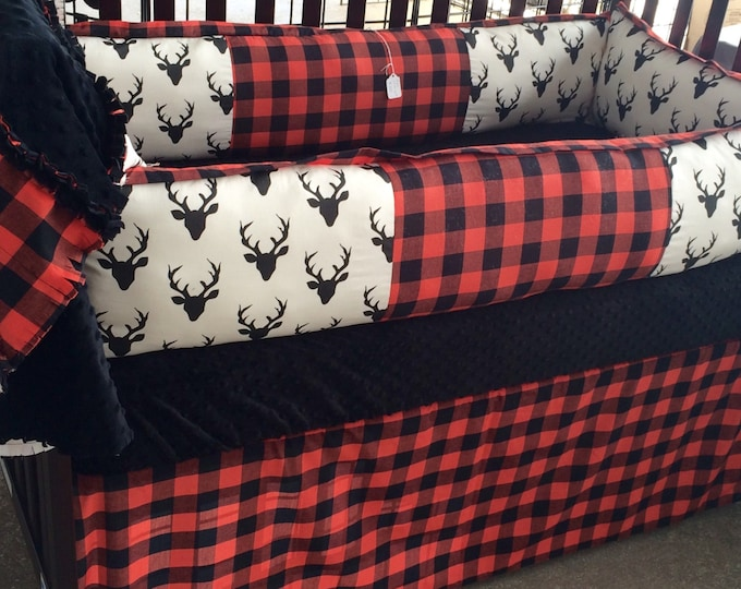 Deer and Buffalo Plaid/Red,white and Black- Custom Baby Bedding- Boy/Girl/neutral crib bedding