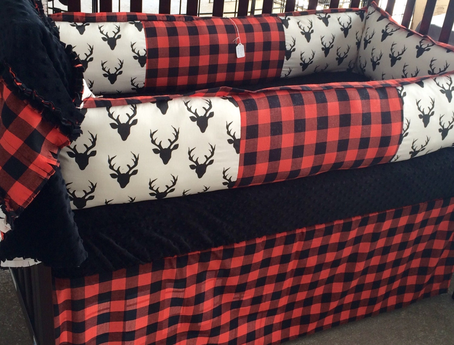 Deer and Buffalo Plaid/Red,white and Black- Custom Baby ...