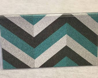 Vinyl Checkbook cover, Glitter Chevron,Turquoise,Black,Silver, Scrapbook style,Duplicate or Single Checks, No wait Ready to Ship