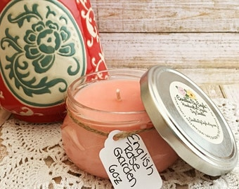 English Rose Garden Scented All Natural Soy Candle - Floral Candle - Rose and Hyacinth Candle - Flower Candle - Essential Oils - 6 oz