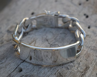 Mens .925 Sterling Silver Thick and Heavy Barbado One by One  Chain link  bracelet with name plate handmade.