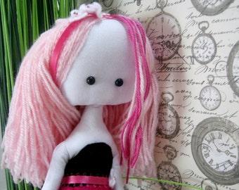 Paperdoll rag doll Rosie,  pink hair doll,  fabric doll, plush girl