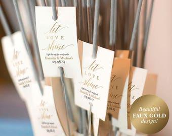 Faux Gold Wedding Sparkler Tags, Wedding Sparkler Sign, Sparkler Send Off Sign, Wedding Sign, Gold Wedding, PDF Instant Download #BPB324_46