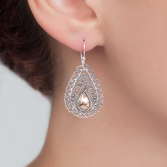 Ethnic Gold and Sterling Silver Drop Earrings.