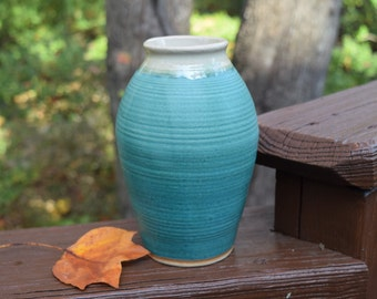 "Pottery Vase, 7.5"" Tall, Teal, Stoneware, Classic Shape"