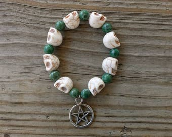Qinghai Jade and Stone Skull Stretch Bracelet with Pentacle Charm