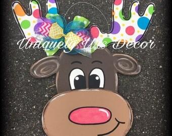 Reindeer Door Hanger, Christmas Door Hanger, Door Hanger, Holiday Door Hanger, Christmas Wreath