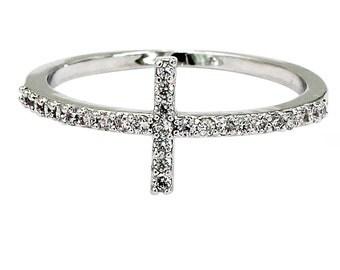 Micro-set crystal cross silver ring