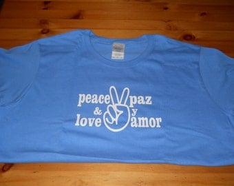 Peace & Love/Paz y Amor Women's Light Blue Tee
