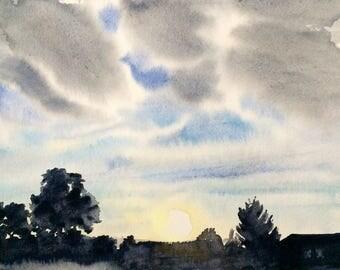 Landscape watercolor, cloud painting, sunrise painting, sunrise watercolor, landscape painting, cloud watercolor, Sky painting, cloudscape