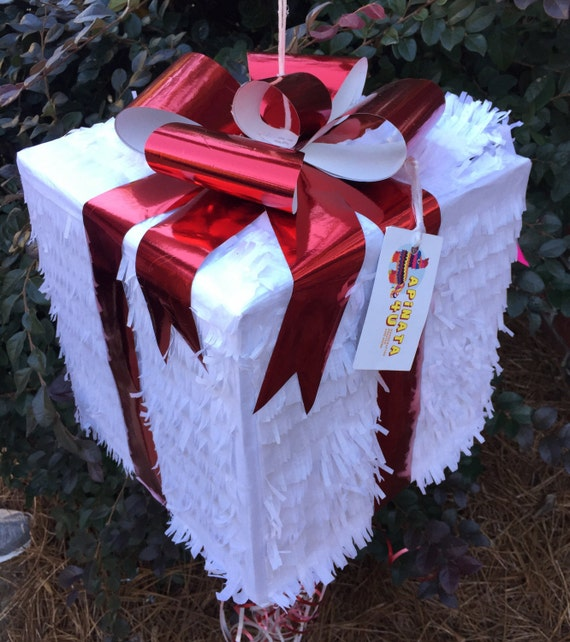 Large White Gift Box Pinat Red Bow Christmas Pinata 12