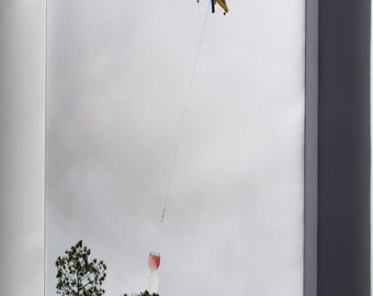 Canvas 24x36; Kaman K1200 K-Max Drops Water On Wildfire, Florida