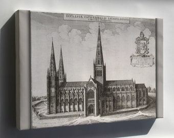 Canvas 24x36; Lichfield Cathedral 17Th Century Map By Wenceslaus Hollar