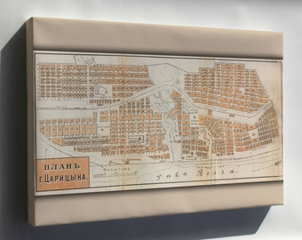 Canvas 24x36; Map Of Tsaritsyn, Russia In 1909 (Present Day Volgograd)