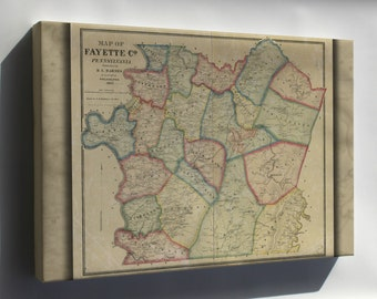 Canvas 24x36; Map Of Fayette Co., Pennsylvania 1865