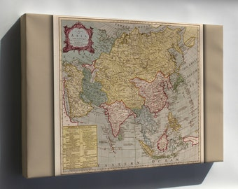 Canvas 24x36; Map Of Asia 18Th Cent. India Japan China Russia