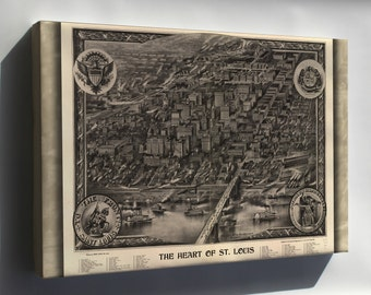 Canvas 24x36; Map Of Heart Of St. Louis Missouri 1907