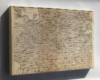Canvas 24x36; Map Of Hudson Bay Region Canada 1733