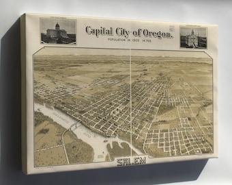 Canvas 24x36; Birdseye View Map Of Salem Oregon 1905