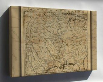 Canvas 24x36; Map Of Mississippi River Valley. 1717