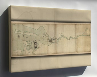 Canvas 24x36; Map Of Penobscot River And Bay Maine 1779
