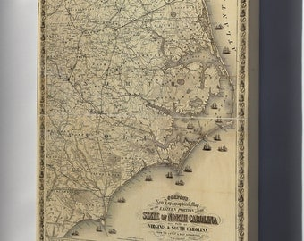 Canvas 16x24; Map Of Eastern North Carolina 1863